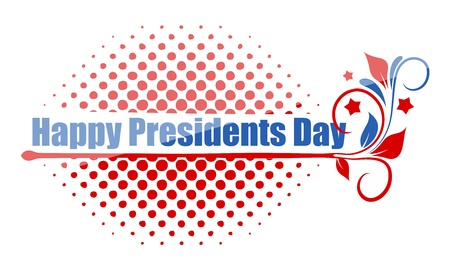 governor: Happy Presidents Day Greeting Text Over Halftone