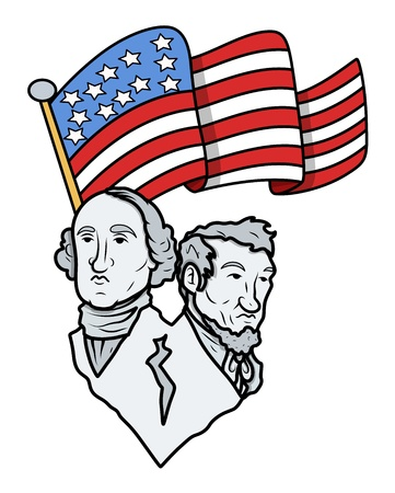 lincoln: Lincoln and Washington with USA Flag - Nation Pride Illustration