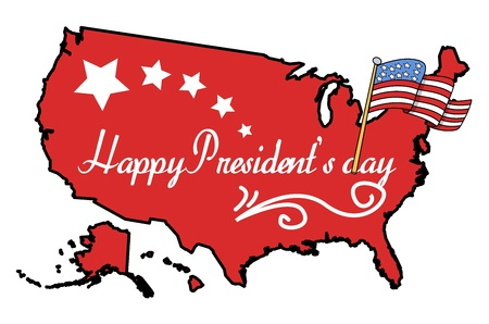 lincoln: Illustrated American Map with Happy Presidents Day Flag Vector