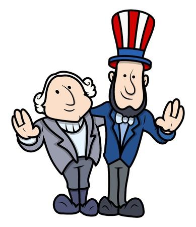 Washington and Lincoln Vector Cartoons on Presidents Day Celebration