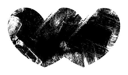Two Hearts Together - Grunge Vector Illustration Background