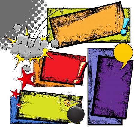 tiras comicas: Grunge sucio tiras c�micas de fondo y Cloud Expresi�n Vectores