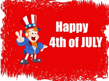 Happy 4th of July Vector Background including uncle Sam Illustration