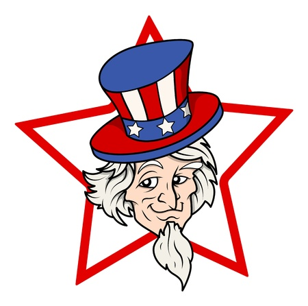 sam: uncle sam vector face over star shape