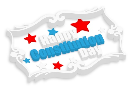 constitution day: Happy Constitution Day Vector in 3d text