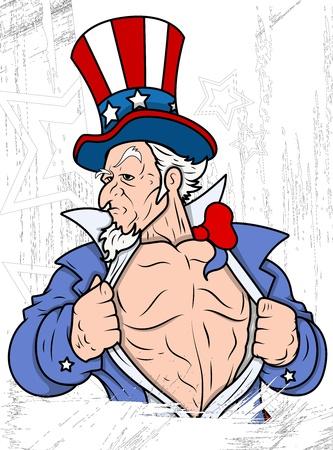 uncle sam: Uncle Sam Portrait - 4th of July Vector theme Design