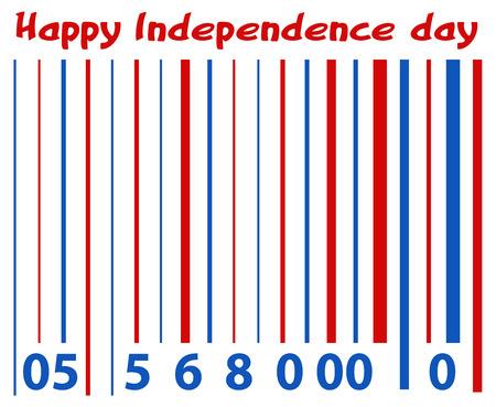 secret number: Barcode greeting - US 4th of July - Independence Day Vector Design Illustration