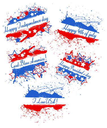 various greeting text banners - Patriotic USA theme Vector Vector