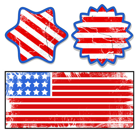 grunge labels - Patriotic USA theme Vector Stock Vector - 22318375