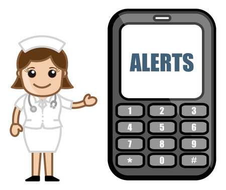 alerts: Subscribe to SMS Alerts - Medical Cartoon Vector Character