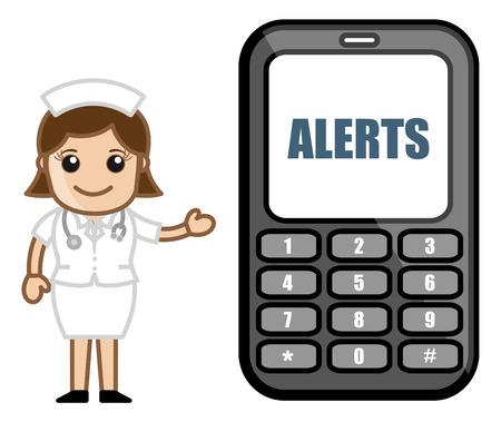 alertas: Suscr�bete a alertas SMS - Medical Cartoon Vector de caracteres Vectores