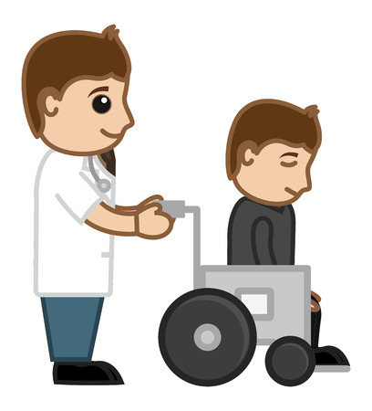 wheel chair: Patient on Wheel Chair - Medical Cartoon Vector Character