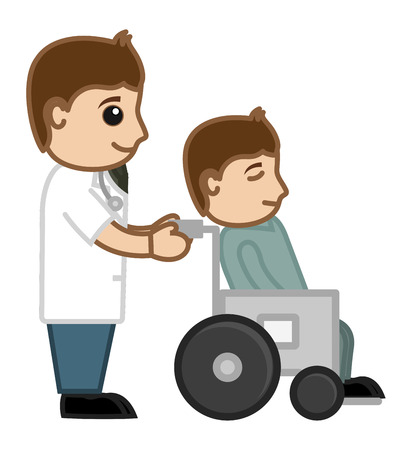 Doctor and Patient - Medical Cartoon Vector Character Vector