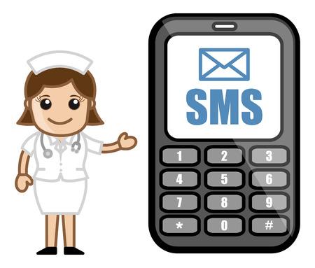 SMS Service - Medical Cartoon Vector Character Stock Vector - 22206787