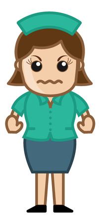 Angry Nurse - Medical Cartoon Vector Character Vector