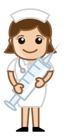 Nurse Having Syringe - Medical Cartoon Vector Character Vector