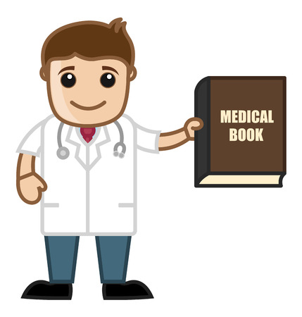 Book - Medical Cartoon Vector Character Vector