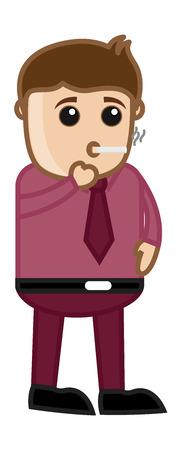 injurious: Cigarette Smoking - Medical Cartoon Vector Character