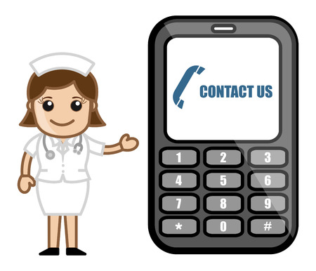Contact Us via Phone - Medical Cartoon Vector Character Vector