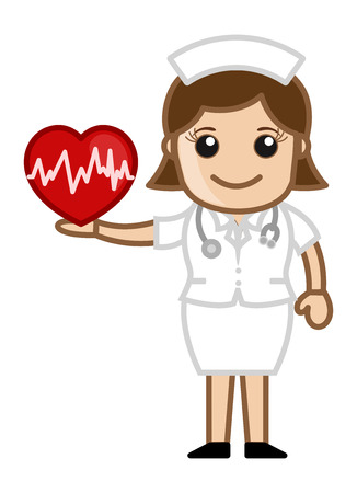 enfermera paciente: Nurse Holding Heart - Medical Cartoon Vector de caracteres
