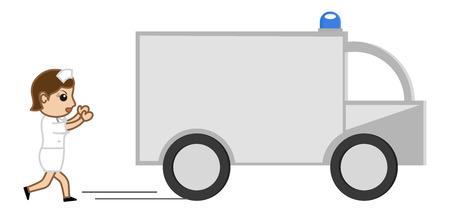 Medical Van and Nurse - Medical Cartoon Vector Character Vector