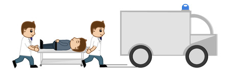 emergency stretcher: Medical Van - Shifting to Hospital - Medical Cartoon Vector Character
