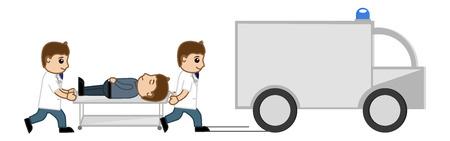 emergency vehicle: Medical Van - Spostamento a Ospedale - Medico Vector Cartoon Character Vettoriali