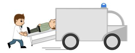 shifting: Shifting in Medical Van - Medical Cartoon Vector Character Illustration