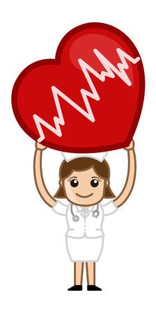 nurse patient: Heart Surgery - Medical Cartoon Vector Character Illustration