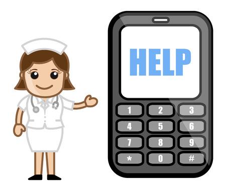 helpline: Helpline Phone Number - Medical Cartoon Vector Character Illustration