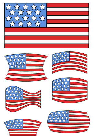 constitution day: USA Flags Designs - Constitution Day Vector Illustration