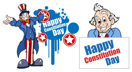 sam: Uncle Sam cartoon - Constitution Day Vector Illustration