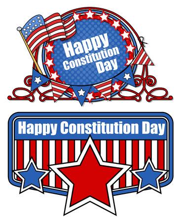 constitution day: retro cartoon - Constitution Day Vector Illustration