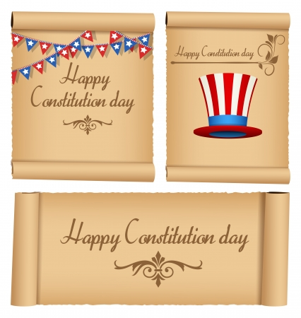 constitution: Old Vintage scroll - Constitution Day Vector Illustration Illustration