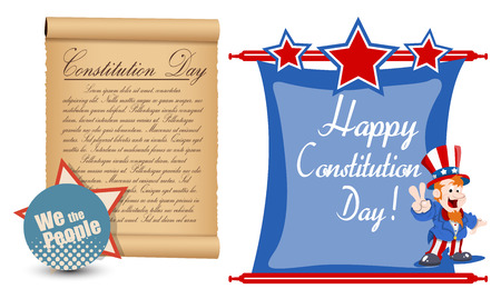 constitution day: Happy - Constitution Day Vector Illustration