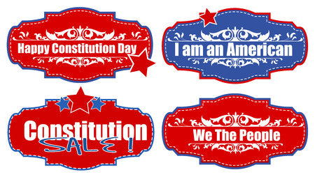constitution: tags and stickers - Constitution Day Vector Illustration