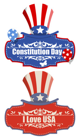 constitution: vintage banner - Constitution Day Vector Illustration