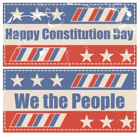 constitution: grunge vintage - Constitution Day Vector Illustration