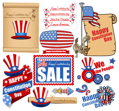 separators: Constitution Day Vector Set Illustration