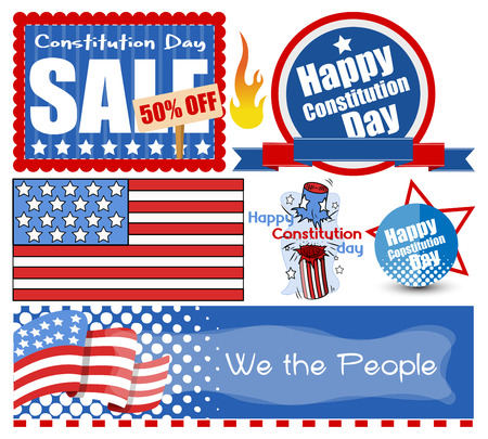 USA Theme Constitution Day Vector Set Stock Vector - 22318489