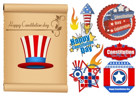 USA Theme Constitution Day Design  Vector Set Vector