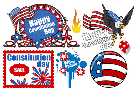 constitution day: American Constitution Day Design Vector Set