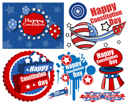 constitution day: American Style Constitution Day Design Vectors Illustration