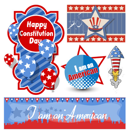 American Themed Constitution Day Design Vectors Vector