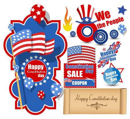 constitution day: USA Constitution Day Design Vectors Set Illustration
