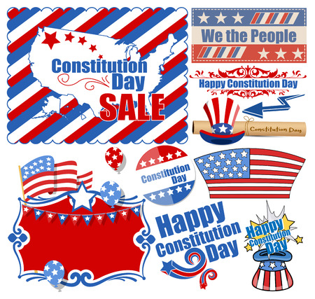 USA Constitution Day Web Design Vectors Set Vector