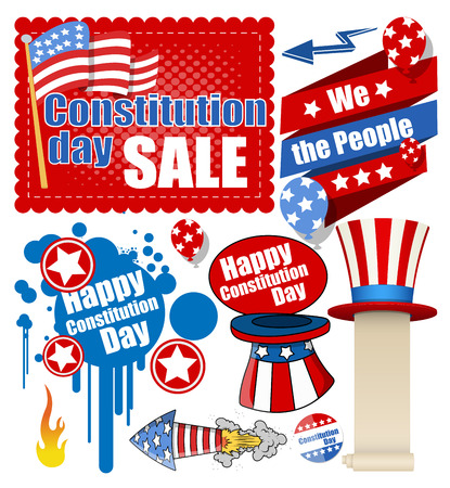constitution day: Constitution Day Celebration Design Vectors Set for USA Illustration