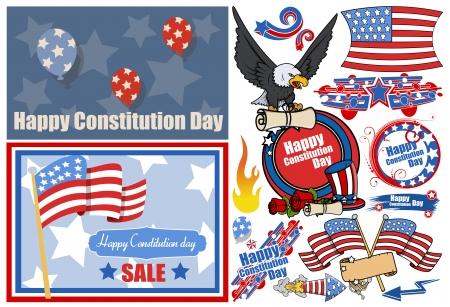 constitution day: Constitution Day Patriotic Design Vectors Set for America Illustration