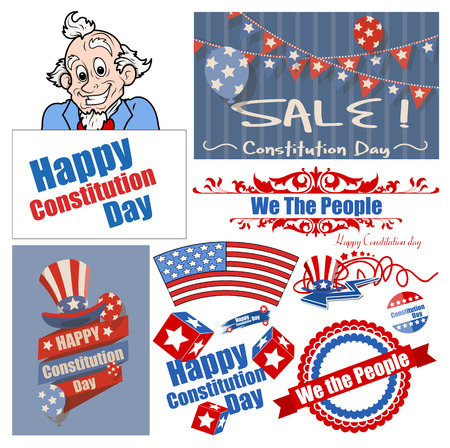 constitution day: Constitution Day Patriotic Design Backgrounds Vectors Set for America