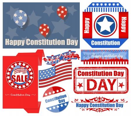 constitution day: USA Constitution Day Patriotic Design Backgrounds   Elements Vectors Set Illustration